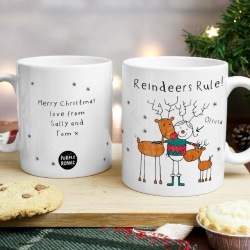 Personalised Purple Ronnie Reindeers Rule Female Mug